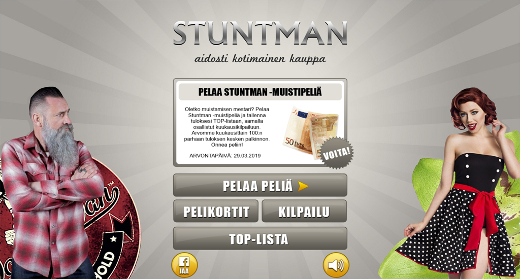 Pelaa Stuntman Postimyynti Oy -muistipeliä ja osallistu kuukausikilpailuun!