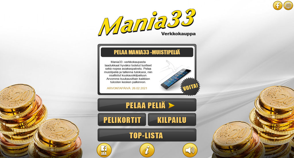 Pelaa Mania33 -muistipeliä ja osallistu kuukausikilpailuun!