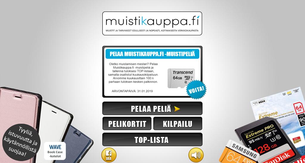 Pelaa Muistikauppa.fi -muistipeliä ja voita Wave BookCase puhelimen suojakotelo