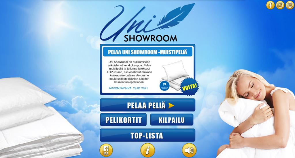 Pelaa Uni Showroom -muistipeliä ja voita Tyyny- ja peittosetti